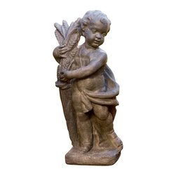 Ladybug - Autumn Cherub Statue in Gray Finish - Weather resistant finish. 1-Year warranty. Made in the USA. Made of pecan shell resin. 15 in. W x 9.50 in. D x 34 in. H (28 lbs.)The finishes are applied by hand, enhancing every detail, and resulting in the uniqueness of no two pieces being exactly alike. Each individually hand-crafted piece of Ladybug product is cast in a crushed marble or resin composition which has the ability to capture and reproduce the same definition and minute detail as the original. It is a substantial, non-porous material which does not absorb moisture, making it ideal for outdoor use, although it offers the strength and durability required to endure even extreme weather conditions.
