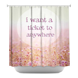 DiaNoche Designs - Shower Curtain Artistic - Ticket To - DiaNoche Designs works with artists from around the world to bring unique, artistic products to decorate all aspects of your home.  Our designer Shower Curtains will be the talk of every guest to visit your bathroom!  Our Shower Curtains have Sewn reinforced holes for curtain rings, Shower Curtain Rings Not Included.  Dye Sublimation printing adheres the ink to the material for long life and durability. Machine Wash upon arrival for maximum softness on cold and dry low.  Printed in USA.