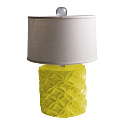 """Stray Dog Designs - Stray Dog Designs Katie Chartreuse Table Lamp - Eco-friendly with a feminine touch, the Katie lamp's geometric flowers in relief are offset by its white linen shade. This chunky table lamp in bright chartreuse adds a pop of color to a living room or bedroom. 18"""" Dia. x 28""""H; Papier-mache; White linen drum shade; Glass finial; Handcrafted by artisans from recycled materials; Finished with low VOC paint; Accepts 75W bulb (not included)"""