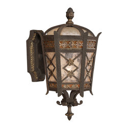 Fine Art Lamps - Chateau Outdoor Outdoor Wall Mount, 404781ST - Let this small, superb top wall mount shine a beacon of welcome from your home's facade. Made of solid brass, it features a variegated rich umber patina with gold accents and an antiqued glass shade.