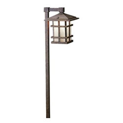 Kichler - Cross Creek Lantern Path Light by Kichler - The Kichler Cross Creek Lantern Path Light illuminates exteriors with a warm glow and accents them with distinctive Arts & Crafts design. The durable structure is made out die-cast aluminum and finished in a textural Aged Bronze. This deeply toned finished sets off the Textured Linen Seedy glass shade. Since 1938, Cleveland-based Kichler Lighting has created exceptional lighting in a variety of styles, finishes, colors and designs. With a diverse collection of indoor and outdoor lighting in classic and contemporary styles, Kichler Lighting always focuses on making home lighting that is both beautiful and functional.