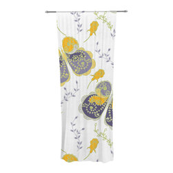 """Kess InHouse - Anneline Sophia """"Leafy Butterflies Yellow"""" Purple Butterfly Decorative Sheer Cur - Let the light in with these sheer artistic curtains. Showcase your style with thousands of pieces of art to choose from. Spruce up your living room, bedroom, dining room, or even use as a room divider. These polyester sheer curtains are 30"""" x 84"""" and sold individually for mixing & matching of styles. Brighten your indoor decor with these transparent accent curtains."""
