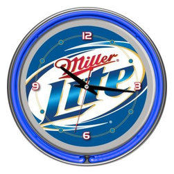Trademark Global - Trademark Global 14 in. Miller Lite Neon Wall Clock ML1400 - Shop for Wall Decor at The Home Depot. This retro neon clock comes with two neon rings a bright white neon on the inside to light up the exclusive graphic and a vibrant neon ring on the outside. The high gloss chrome molded clock case adds to the brilliant shine of the neon. Make a spectacul