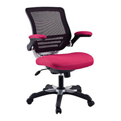 "LexMod - Edge Office Chair in Red - Edge Office Chair in Red - Welcome to a new era in functional comfort. The Edge office chair combines old time charm with cutting edge ergonomics to deliver one comprehensive seating experience. Every feature imaginable in a chair is available as soon as you sit down. This is a chair that you can conform to behave exactly how you need it. The Edge Office Chair  giving you the comfort you need when you need it most. Set Includes: One - Edge Office Chair with Mesh Fabric Seat Mesh Back, Sponge Seat Covered with Mesh Fabric, Seat Tilt with Tension Control, Adjustable Seat Height, Flip-Up Arms Overall Product Dimensions: 24""L x 26.5""W x 38 - 42""H Seat Height: 18 - 21""H Armrest Height: 27 -31""H - Mid Century Modern Furniture."