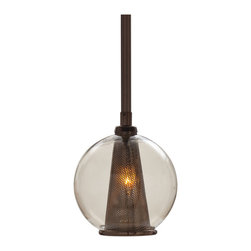 Kathy Kuo Home - Cavlar Small Antique Brown Steel Smoke Glass Pendant Light - This brown steel pendant is so dark, smokey and warm that it reminds us of après ski cocktails with the finest aged Scotch.  Perhaps it's the amber tones and relaxed mood that happens when you turn it on. From rustic lodge to contemporary style, this is a great way to make darkness into an instant happy hour!
