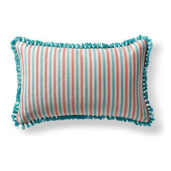 Frontgate - Fairway Stripe Blue Outdoor Lumbar Pillow - 100% Sunbrella® solution-dyed acrylic fabric. Finished in Aruba eyelash fringe. Resists fading, mold and mildew. High-density polyester fill. Spot clean with mild soap and water; air-dry only. Bursting with welcoming texture and pattern, the Sunbrella Fairway Stripe Aruba Outdoor Lumbar Pillow will instantly enhance your outdoor setting. Embellished with intricate Aruba eyelash fringe and constructed of all-weather fabric, this exclusive pillow maintains its radiance through seasons of use. 100% Sunbrella solution-dyed acrylic fabric .  .  .  .  . Zipper closure . Made in the USA.