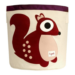 3 Sprouts - 3 Sprouts Storage Bin, Squirrel - Help your kids clean up their acts with our cute squirrel pattern animal storage bins in berry from 3 Sprouts . This bin is well sized for storing toys or as a laundry hamper. The bin collapses for easy storage when not in use. It is made up of 100% cotton canvas and coated on the inside for easy cleaning. It is the perfect gift for babies and toddlers.