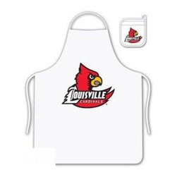 Sports Coverage - Louisville Cardinals Tailgate Apron and Mitt Set - Set includes your favorite collegiate Louisville University Cardinals screen printed logo apron and insulated cooking mitt. White apron with white silver backed mitt. Both items are logoed. Tailgate Kit apron and mit is 100% cotton twill with screenprinted logo.