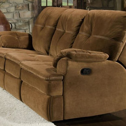 Chelsea Home - Oak Reclining Sofa - Plywood's are nailed, stapled and corner blocked. 8 gauge flat sinuous springs. 1.8 high density Dacron wrapped foam. Seat cushion is attached. Seat back cushion is attached. PSI compression: 28 to 30 lbs.. Seating comfort: Medium. Made from 100% polyester and solid hardwood. Night party tobacco color. Made in USA. No assembly required. Seat height: 20 in.. Seat depth: 20 in.. Seat width: 65 in.. Overall: 92 in. L x 39 in. W x 41 in. H (250 lbs.)