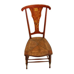 Used Art Nouveau Rush Seat Side Chair - A timeless Art Nouveau bedroom or side chair with a rush seat. This 1910 piece features lovely turned legs, a slat back and inlay marquetry. In good antique condition this darling chair is sure to become everyones favorite seat.