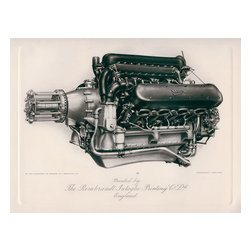 Napier Lion Engine Print - Correct me if I am wrong but I believe this is a Napier Lion Aircraft Engine. Seen here it looks almost exactly identical. This is a fine example of Intaglio Gravure Printing. Dates to about 1918.
