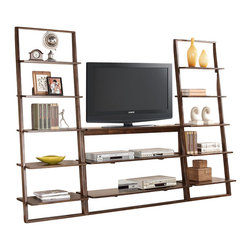 Riverside Furniture - Riverside Furniture Lean Living 3 Piece TV Stand Set in Burnished Brownstone - Shown with 2 Bookcases Sold Separately
