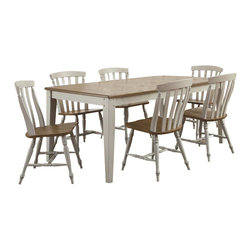 Liberty Furniture - Liberty Furniture Al Fresco III 8 Piece 74x40 Rectangular Dining Room Set w/ Sla - Al Fresco or dining in the outdoors brings to mind an open air natural feel. Al Fresco Casual Dining is a fresh approach to a casual rustic style in sand and driftwood finish. The dining tops are accented with plank styling and round/square peg inserts. What's included: Dining Table (1), Side Chair (6), Server (1).