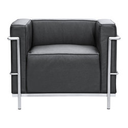"Lemoderno - Grand Armchair In Leather by Lemoderno, Black Leather - The LC3 Petite chair frames are manufactured using high gauge stainless steel. The tubular frame is polished to a perfect mirror finish. This stainless steel frame will never chip or rust. We have captured the true radius for each of the frame corners. The webbing is 2"" nylon with hooks to hold it the frames. Our chairs match the dimensions of the world renowned original brand. This item is a high quality reproduction of the original."