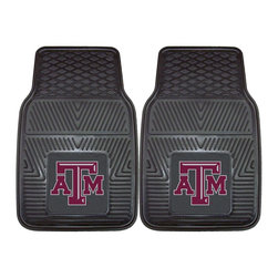 Fanmats - Fanmats Texas A&M 2-piece Vinyl Car Mats - A universal fit makes this two-piece mat set ideal for cars, trucks, SUVs and RVs. The officially licensed Texas A&M design in true team colors is permanently molded of vinyl for longevity.