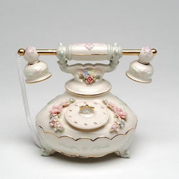 CG - 5.125 Inch Dainty Handcrafted Ceramic Telephone Adorned with Flowers - This gorgeous 5.125 Inch Dainty Handcrafted Ceramic Telephone Adorned with Flowers has the finest details and highest quality you will find anywhere! 5.125 Inch Dainty Handcrafted Ceramic Telephone Adorned with Flowers is truly remarkable.