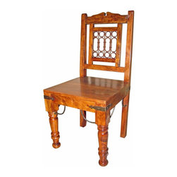 """Hardwood And Iron Rustic Dining Chair - Solid hardwood dining chair. Spanish Tuscan look and feel with handmade iron accents. These chairs work with any of our Spanish Colonial tables. Chairs are sold in pairs Only. Price is per chair. Dimensions: 18. 5'' l x 39. 5'' h x 18. 5'' w Seat height is 18. 5""""."""