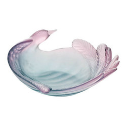 Daum Crystal - Daum Crystal Bird Of Paradise Green-Pink Bowl 03950 - Daum Crystal Bird Of Paradise Green-Pink Bowl * FULLY AUTHORIZED DAUM DEALER * Size: Depth 8.86 Inches * Birds of Paradise inspire, for the first time, Daum. Crystallised in a rounded shape in this bowl, the bird seems to take off. The meticulously sculpted details of the plumage enhance the elegance of this exotic bird. * Made By Hand In France * Kiln Fired For 10 Days * Every piece is unique, no two Daum crystals are exactly alike. * Since 1878 Daum Crystal has been the ultimate in luxury.