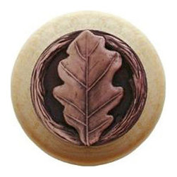 "Inviting Home - Oak Leaf Natural Wood Knob (unfinished with antique copper) - Oak Leaf Natural Wood Knob unfinished with hand-cast antique copper insert; 1-1/2"" diameter Product Specifications: Made in USA. Fine-art foundry hand-pours and hand-finishes every knob using Old-World methods. Exceptional clarity of details and depth of relief. All knobs are internally threaded solid brass or stainless steel inserts cast into the stem for lifetime durability. All knobs have been engineered to accept an 8/32 screw; 1"" screws have been individually pact with each knob. Knobs are made of solid maple and finished with maple stain. All inserts for wood knobs are hand-cast from solid fine pewter or solid bronze. The term ""antique"" refers to special methods of treating metal so there is contrast between the raised relief and recessed areas."