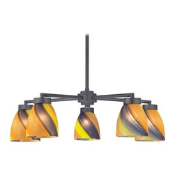 Design Classics Lighting - Black 5-Light Modern Chandelier with Art Glass - 590-07 GL1015MB - Contemporary / modern matte black 5-light chandelier with modern bell glass shades. Includes one 6-inch and three 12-inch down rods that allow this chandelier to hang at a minimum height of 17-1/8-inches up to a maximum of 53-1/8-inches. Takes (5) 100-watt incandescent A19 bulb(s). Bulb(s) sold separately. UL listed. Dry location rated.