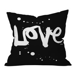 Kal Barteski Love Black Outdoor Throw Pillow - Do you hear that noise? it's your outdoor area begging for a facelift and what better way to turn up the chic than with our outdoor throw pillow collection? Made from water and mildew proof woven polyester, our indoor/outdoor throw pillow is the perfect way to add some vibrance and character to your boring outdoor furniture while giving the rain a run for its money.