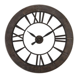 Uttermost - Uttermost 06085  Ronan Wall Clock - Dark, rustic bronze finish accented with a rust gray frame. quartz movement.