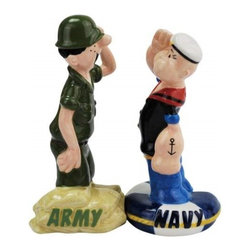 Westland - 4.25 Inch Army and Navy Saluting Each Other Salt and Pepper Shakers - This gorgeous 4.25 Inch Army and Navy Saluting Each Other Salt and Pepper Shakers has the finest details and highest quality you will find anywhere! 4.25 Inch Army and Navy Saluting Each Other Salt and Pepper Shakers is truly remarkable.