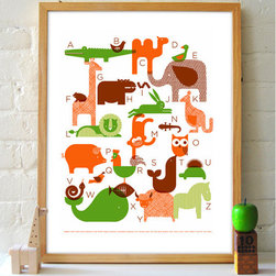 Animal ABC Poster - Houzz Team Member Lily found this alphabet jungle print for your child's room. An especially great gift for an expectant mom who doesn't know if she's having a boy or a girl – the pleasing color scheme could inspire her entire nursery color palette.