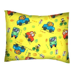 SheetWorld - SheetWorld Twin Pillow Case - Flannel Pillow Case - Animal Traffic Yellow - Twin pillow shams. Made of an all cotton flannel fabric. Side opening. Features the cutest animal traffic yellow.