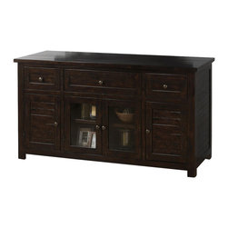 Jofran - Jofran 820-9 Media Unit with 3 Drawers - 2 Wood Doors - 2 Glass Doors - Casual style gets a high-end face-lift with the decorative look of this TV cabinet. Taking its lead from a high-end trend that is focused on rich, dark wood finishes, this piece will provide you with style and function at a price you can afford. The design of the TV stand is fairly relaxed with straight lines and paneled drawers & doors while the rich finish gives the piece a look of class. Accents include glass doors with a shelf behind and small knob hardware for an understated detail.