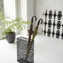 Nest - Black Metal Rectangular Umbrella Stand, Modern Home Decor - This Umbrella Stand is the perfect addition to your foyer or entryway, offering both striking elegance and practicality.