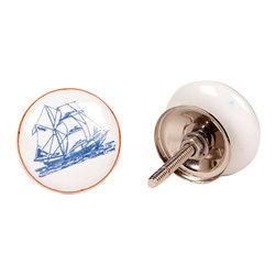 MarktSq - Ceramic Knob - Sail Boat Print - Set of 4 - Charming flat ceramic knob with sailboat print. Sold as a set of 4 knobs.