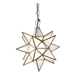 Worlds Away - Worlds Away Frosted Star Chandelier-Small - Small Frosted Glass Star Chandelier. Uses 1 - 60 watt bulb. Comes with 3' antique brass chain and canopy. Additional chain may be purchased upon request.