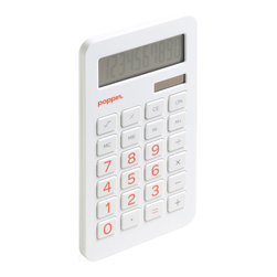 Poppin - White Eco Calculator, Orange Numbers - Add this to your do-something-good-for-the-environment-list and subtract some guilt.