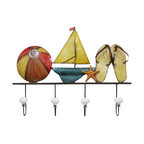 """Handcrafted Model Ships - Metal Sandals Beach Ball and Sailboat Wall Plaque 20"""" - Nautical Decor - Immerse yourself in the warm ambiance of the beach, imagining golden sands between your toes as you listen to the gentle sound of the surf, while you enjoy Handcrafted Nautical Decor's fabulous Beach Signs. Perfect for welcoming friends and family, or to advertise a festive party at your beach house, bar, or restaurant, this Metal Sandals Beach Ball and Sailboat Wall Plaque 20"""" will brighten your life. Place this beach sign up wherever you may choose, and enjoy its wonderful style and the delightful beach atmosphere it brings."""