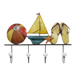 "Handcrafted Model Ships - Metal Sandals Beach Ball and Sailboat Wall Plaque 20"" - Nautical Decor - Immerse yourself in the warm ambiance of the beach, imagining golden sands between your toes as you listen to the gentle sound of the surf, while you enjoy Handcrafted Nautical Decor's fabulous Beach Signs. Perfect for welcoming friends and family, or to advertise a festive party at your beach house, bar, or restaurant, this Metal Sandals Beach Ball and Sailboat Wall Plaque 20"" will brighten your life. Place this beach sign up wherever you may choose, and enjoy its wonderful style and the delightful beach atmosphere it brings."