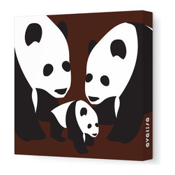 "Avalisa - Animal - Three Pandas Stretched Wall Art, 12"" x 12"", Brown - The three bears were never like this — but then, you're no Goldilocks! This charming trio will bring clever, cool, not-too-cute appeal to any setting."