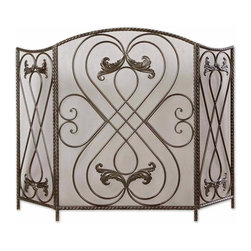 Uttermost - Black Forged Metal Fireplace Screen Aged Black Chestnut Brown Home Decor - Black modern hand forged metal fireplace screen finished in aged black and chestnut brown undertones home accent decor