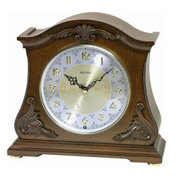Rhythm - Joyful Versailles Wooden  Musical Mantel Clock - The Joyful Versailles' Italian influenced design gives this clock elegance and the steel dial with the embossed numbers accentuates this model