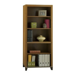 Achieve Collection 5 Shelf Bookcase with Adjustable Shelves and Optional Doors - Keep your books, files, notebooks, binders, and other office necessities organized and in their place with the Achieve Collection 5 Shelf Bookcase with Adjustable Shelves and Optional Doors. This handsome bookcase, with a sweet cherry finish, features two fixed shelves and three adjustable shelves for storage flexibility. And it matches the height of the L-Desk/Hutch combination for a seamless look.About Bush FurnitureBush Furniture is the eighth largest furniture company in the United States. Bush manufactures high-quality products, which are designed to be easily assembled and provide great value for the price. Bush furniture is made from a combination of particleboard, fiberboard, and solid wood components. The use of real wood components will be noted in the product description, if applicable. Bush Industries has over 4,000,000 total square feet of manufacturing, warehousing, and distribution space. This allows for a very wide selection of high-quality furniture with the ability to ship quickly. All standard residential Bush products carry a generous 6-year warranty. All Bush business furniture, including the A series, C series, and Quantum series, is backed by a 10-year warranty from Bush, one of the best in the industry.