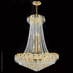 Worldwide Lighting Empire Chandelier W83034G30 - Worldwide Lighting Empire Collection 18 light Gold Finish and Clear Crystal Chandelier