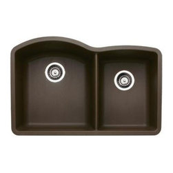 """Blanco - Blanco 440177 Cafe Brown Diamond Diamond 1-3/4 Basin Silgranit II - Product Features:  Sink is covered under Blanco s limited lifetime warranty Premier finishing process - will resist staining, chipping and scratching through every day use Double basin sink with a 60/40 split provides increased versatility for any task Blanco sinks feature extremely hygienic, non-porous surfaces Constructed of Blanco s SILGRANIT II material - making it durable and fade resistant Installs in an undermount configuration - providing a sturdy mount and integrated look Rear drain location increases workspace are in the sink as well as storage space underneath All hardware needed for installation included  Product Benefits:  SILGRANIT II: Crafted of 80% natural granite, this composite features the look and feel of natural stone and resists scratches, stains, chips and heat. Colored all the way through SILGRANIT II will not fade in direct sunlight and is impervious to household acids and alkalis. Advanced surface technologies ensure that it will be non-porous, easy to clean and an extremely hygienic workspace.  Product Specifications:  Overall Height: 9-1/2"""" (measured from the bottom of sink to the top of the rim) Overall Width: 20-5/6"""" (measured from the back outer rim to the front outer rim) Overall Length: 32"""" (measured from the left outer rim to the right outer rim) Basin Width (Left): 18-3/5"""" (measured from back to inner rim to front inner rim on left bowl) Basin Length (Left): 16-1/2"""" (measured from left inner rim to right inner rim on left bowl) Basin Depth (Left): 9-1/2"""" (measured from the center of basin to the rim on left bowl) Basin Width (Right): 16-4/5"""" (measured from the back inner rim to the front inner rim on right bowl) Basin Length (Right): 12-1/2"""" (measured fr"""