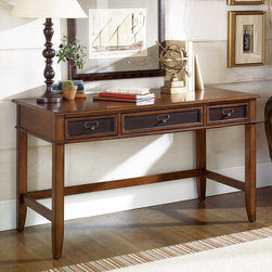 """Hammary - Mercantile Desk in Whiskey Finish - Hammary's Mercantile series is crafted of Poplar Solids and Cherry Veneers, Metal and Beveled Glass with a Whiskey finish. The collection is reminiscent of general stores and Early 20th Century styles, the look of this grouping is sure to add a nostalgic and casual feel to any home.; Mercantile Collection; Finish: Whiskey; 3 Drawers; Pull Down Keyboard Tray; Mouse Pad; Pencil Tray; Weight: 112 lbs.; Dimensions: 54""""W x 26""""D x 30. 75""""H"""