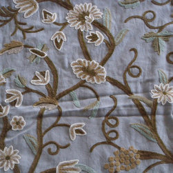 Crewel Fabric World by MDS - Crewel Fabric Grapes Sky Blue Cotton Duck- Yardage - Inspiration: Grapes is a pattern inspired by Fresh Vineyards from France. The word Grapes means Fresh, Young, New etc;.