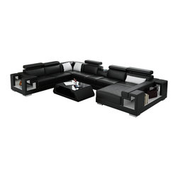 Scene Furniture - Ello Leather Sectional - This sleek leather sectional from Scene Furniture is both gorgeous and very useful. It includes 5 adjustable headrests, 2 side storage spaces, 3 small throw pillows and a small table built into the sofa's center (in between headrests). PLEASE NOTE THAT THE MATCHING COFFEE TABLE IS NOT AVAILABLE AND IS NOT INCLUDED.
