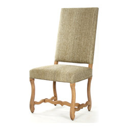 Freija Dining Chair - A dainty turning-in of the feet which support the Freija Dining Chair helps keep the weighty grace of this Scandinavian-inspired dining chair tasteful and suitable for incorporation in the transitional home.  Upholstered in neutral oatmeal-colored silk that emphasizes sheen and texture, the high rectangular back creates a pleasing tension with the organic twist of the carved oak stretchers below.