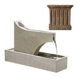 Campania International - Precipice Fountain - Aged Limestone (AL) - The Precipice Fountain (FT-126) is from Campania International. This striking modern fountain works well in narrow areas or to delineate space with its long narrow basin.
