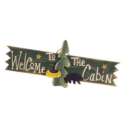 Sleepy's Signs - Welcome to the Cabin 3-D Rustic Wood Sign - Wooden  Cabin  Welcome  Sign          Welcome  to  the  Cabin  in  vintage  3-D!  This  rustic  wood  sign  is  truly  three  dimensional  with  wood  cutouts  of  a  pine  tree,  canoe,  and  black  bear  standing  out  from  the  distressed  forest  green  finish  on  solid  wood.  Stunning  white  lettering  announces  a  whole-hearted  greeting  to  friends  and  family  alike,  while  gold  stars  enliven  this  wonderful  wooden  sign.  Handmade  in  the  USA.                  Rustic  Wood  Sign              36  inches  wide  x  12  inches  high              Rope  Hanger              Made  in  USA              Allow  4-6  weeks  for  shipping