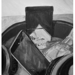 The Everyday Collection (Original) by Megan Wiley - The story behind this piece is slightly humorous. This was also an assignment piece for a painting class at the University of North Texas. I had forgotten that we were to bring items to produce our own personal still life to paint and was in a panic because I hadn't brought anything but my art supplies and my purse. I frantically dug into my purse to search for items to paint and found an empty box of Marlboro Black cigarettes and a bottle of perfume. Besides those items, I always had my headphones around my neck and I always came prepared to listen to music when I was to engage in a painting. Needless to say, I was music-less throughout this entire painting.