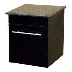 Bellaterra Home - Wall Mount Side Cabinet in Black Finish - Wall mount cabinet with genuine marble top.  Soft close door hinges with brush nickel finish hardware. Dimension: 15Wx13.8Dx16.25H, Birch Black Nickel finish hardware, Slight assembly required